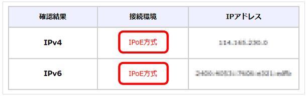 ドコモ光 OCN v6アルファ IPoE接続確認