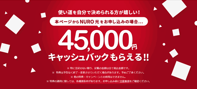 NURO光の公式キャンペーンはルーターレンタル永年無料