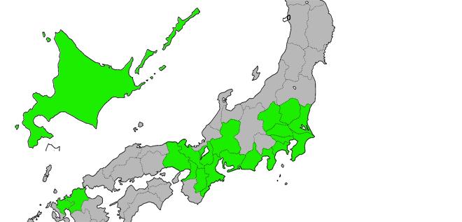 NURO光提供エリアの地図