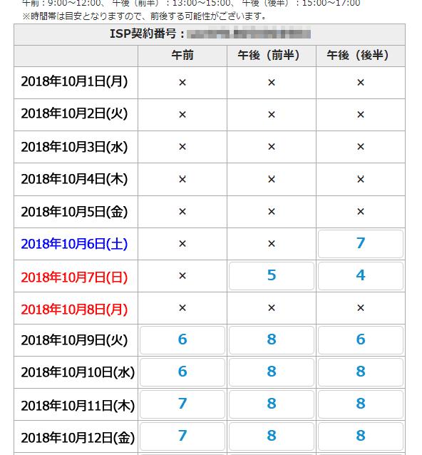 NURO光公式から申し込みした場合の工事日決定画面