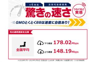 GMOとくとくBBの速度測定ページ